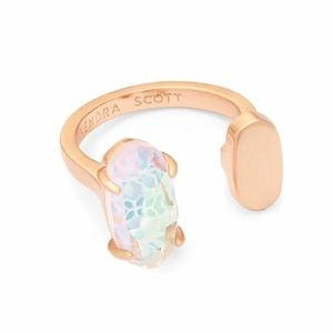 RARE Pryde Rose Gold Dichroic Glass Ring 4 5 6